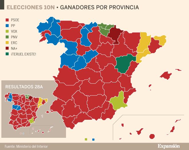 Resultats 10N per províncies